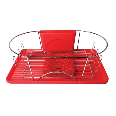 Mega Chef 17 Dish Rack, Red/Silver (92596409M)