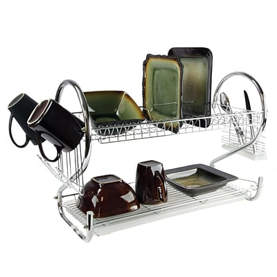 Mega Chef 16 Iron Wire Two Shelf Dish Rack, Chrome (94396410M)