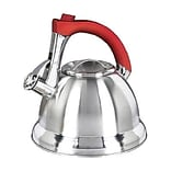 Mr. Coffee® Mr. Collinsbroke Stainless Steel Tea Kettle, 2.4 qt, Silver/Red (63017.02)