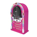 PPG™ P17-J95BF-8 Retro Style Bluetooth/CD Jukebox with LED Neon Lights, Pink