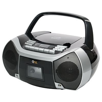 QFX® J-36 2 x 1.2 W Portable Bluetooth Boombox with Cassette Recorder, Black/Silver