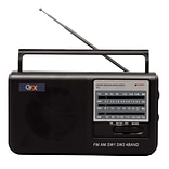 QFX® R-3 AM/FM/SW1/SW2 Portable Radio, Black