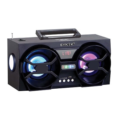 Sykik™ SP2091BT 10 W Bluetooth Boombox with SD/MMC/USB FM Radio, Black