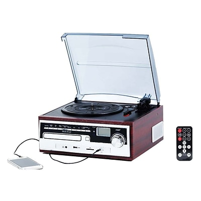 Techplay 3-Speed Retro Classic Turntable with CD Player, Wood (ODC26WD)