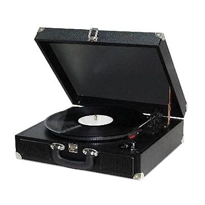 Techplay 3-Speed Portable Suitcase Turntable with PC Link, Black (ODC5E)