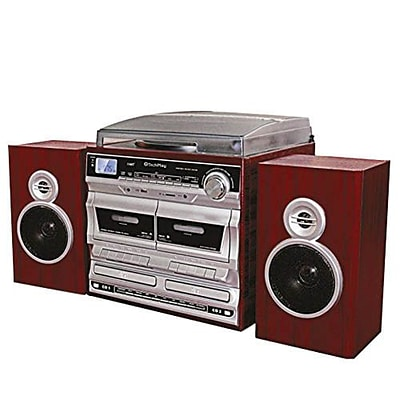 Techplay 3-Speed Retro Stereo Turntable with Double CD and Cassette Recorder/Player, Wood (ODCR2110-WD)
