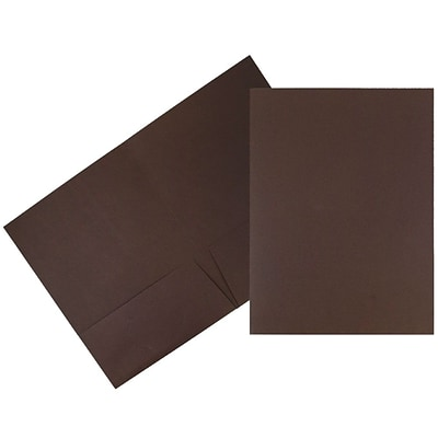 JAM Paper® Two Pocket Presentation Folders, Chocolate Brown, 100/carton (386Lbrb)