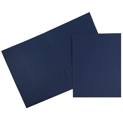 JAM Paper® 2 Pocket Linen Folders, Navy Blue, 50/Box (386LNAC)