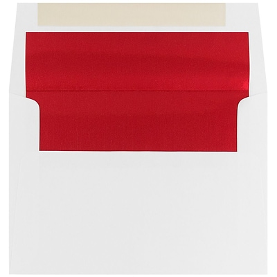 JAM Paper® A7 Foil Lined Invitation Envelopes, 5.25 x 7.25, White with Red Foil, 25/Pack (83065)