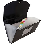 JAM Paper® 13 Pocket Expanding File, Check Size, 5 x 10.5, Black, 24/pack (2167013B)