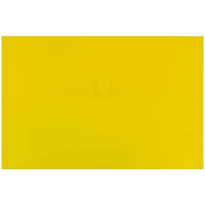 JAM Paper® Plastic Envelopes with Hook & Loop Closure, Legal Booklet, 9.5 x 14 3/8, Yellow Poly, 12/pack (235828262)