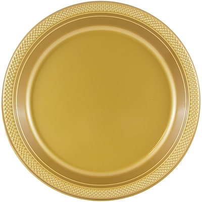 JAM Paper® Round Plastic Plates, Small, 7 Inch, Gold, 20/pack (255325367)