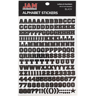 JAM Paper® Self-Adhesive Alphabet Letter Stickers, Black, 372/Pack (2132817353)
