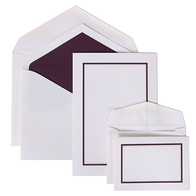 JAM Paper® Colorful Border Stationery Set Combo, 50 Large Cards Envelopes, 100 Small Cards Envelope, Purple,100/set (2237719068)