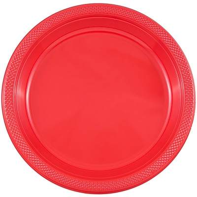 JAM Paper® Round Plastic Plates, Small, 7 Inch, Red, 20/pack (7255320666)