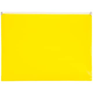 JAM Paper® Plastic Envelopes with Zip Closure, Letter Booklet, 9.5 x 12.5, Yellow Poly, 12/pack (218