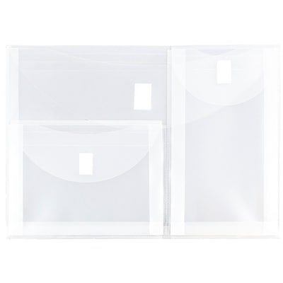 JAM Paper® Plastic 3 Pocket Envelopes with Hook & Loop Closure, Letter Booklet, 9.75 x 13, Clear Poly, 12/pack (B35318)