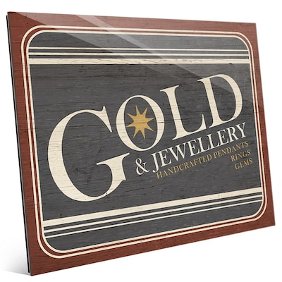 Click Wall Art 'gold Jewelry Sign' Textual Art On Plaque; 8'' H X 10'' W X 1'' D