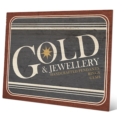 Click Wall Art 'gold Jewelry Sign' Textual Art On Plaque; 8'' H X 10'' W X 0.04'' D