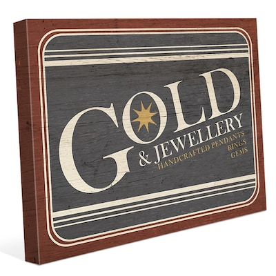 Click Wall Art 'gold Jewelry Sign' Textual Art On Wrapped Canvas; 8'' H X 10'' W X 0.75'' D