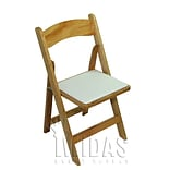 Midas Event Supply Classic Wood Folding Chair; Natural/ White