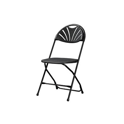 Zown Classic Collection Fan Back Resin Folding Chair Black (60542BLK8E)