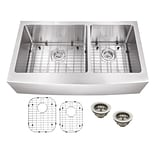 Soleil 35.875 x 20.75 Double Bowl Farmhouse/Apron Kitchen Sink