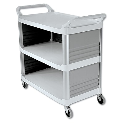Rubbermaid® Enclosed 3-Shelf Utility Cart, Enclosed 3 Sides, White