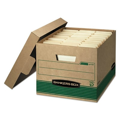 Bankers Box® Stor/File™ Medium-Duty FastFold® 100% Recycled Storage Boxes with Lift-Off Lid, Letter/Legal, 12/Ct (12770)