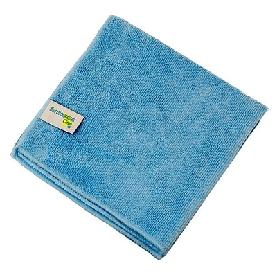 Microfiber Cloth, 16 X 16 with ServiceMaster Clean Tag, Blue, 12/PK