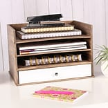 Kate and Laurel Industrious Desktop Wood Letter Tray w/ 3 Trays and Drawer; Rustic Wood/White
