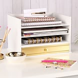 Kate and Laurel Industrious Desktop Wood Letter Tray w/ 3 Trays and Drawer; White/Gold