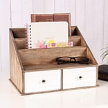Kate and Laurel Industrious Desktop File Folder Organizer w/ 2 Pockets and 2 Drawers