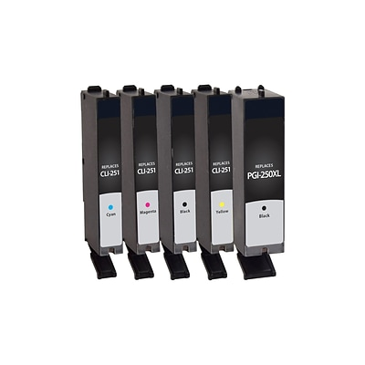 Quill Brand Remanufactured Canon PG-250XL/CLI-251 High Yield/Standard Inkjet 5PK Multi-Pack (100% Satisfaction Guaranteed)