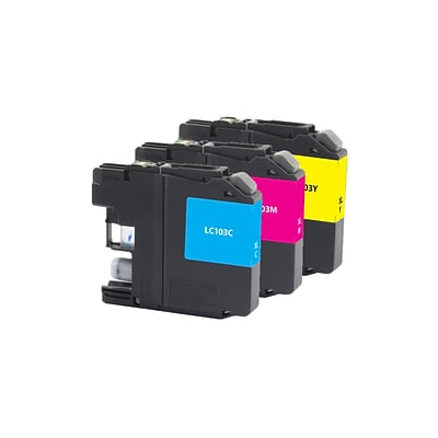 Quill Brand® Brother LC103 Remanufactured C/M/Y Ink Cartridge, High Yield, 3/Pack (LC1033PKS) (Lifetime Warranty)