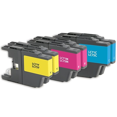 Quill Brand® Remanufactured Brother LC71 LC75 Inkjet Standard/High Yield 3PK Multi-Pack (Lifetime Warranty)