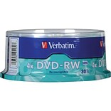 Verbatim® 4.70GB DVD-RW; Spindle, 30/Pack