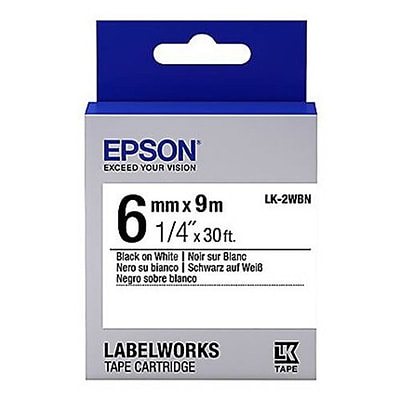 Epson® LabelWorks 6 mm Label Cartridge, Black on White (LK-2WBN)