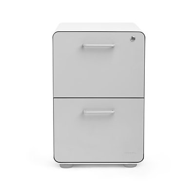 Poppin, Stow 2-Drawer File Cabinet, White + Light Gray (101834)