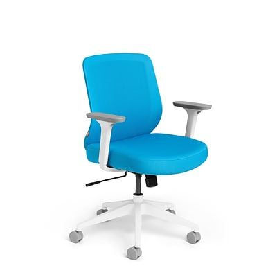 Poppin, Pool Blue Max, Task Chair, Mid Back, White Frame (101890)