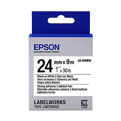 Epson® LabelWorks 1 Tape Cartridge; Black on White (LK-6WBW)