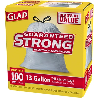 Glad Tall Kitchen Drawstring Trash Bags 13 Gallon, 100 Bags/Box, White