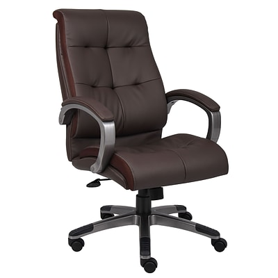 Boss® B8771 Series Leather Executive High-Back Chair; Brown