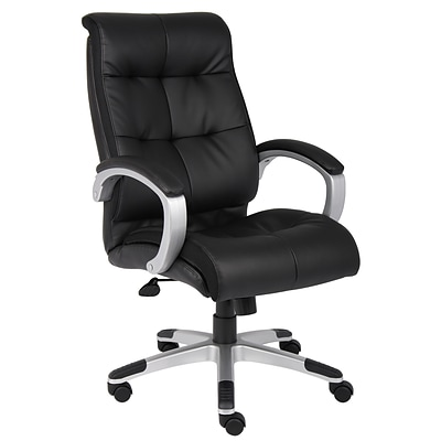 Boss® B8771 Series Leather Executive High-Back Chair; Black