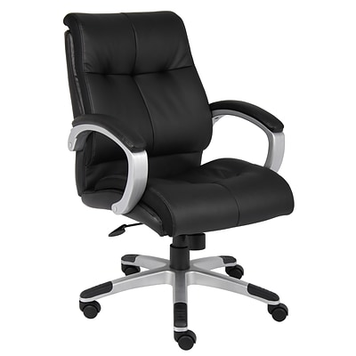 Boss® B8776 Series Leather Executive Mid-Back Chair; Black