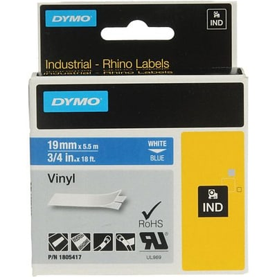 Dymo®  Rhino 0.47 Permanent Adhesive Color Coded Label Tape; White on Blue (1805417)