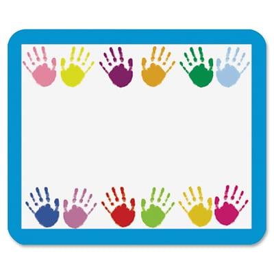 Carson-Dellosa Grades PreK-5 Handprints Name Tags, 40 Labels, 3 Width x 2.50 Length, Rectangle, Multicolor, 40/Pack