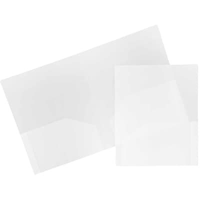 JAM Paper® Plastic Heavy Duty Two Pocket Folders, Clear, 6/pack (3383HCLD)