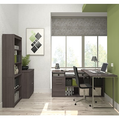 Solay L-Shaped Desk with lateral file and bookcase in Bark Gray