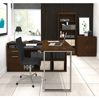 Solay L-Shaped Desk with lateral file and bookcase in Chocolate